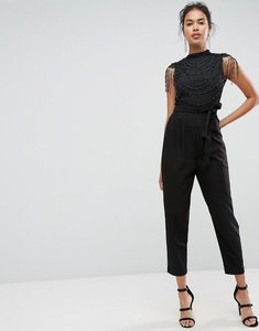 Read more about Asos embellished high neck jumpsuit - black