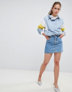 Read more about Miss selfridge denim skirt with button down front - blue