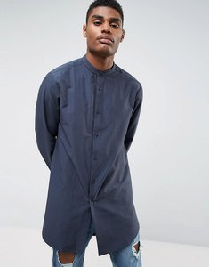Read more about Asos regular fit super longline shirt in navy with grandad collar - navy