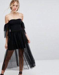 Read more about French connection tulle layered off-shoulder dress - black