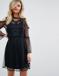 Read more about Miss selfridge embroidered mesh dress - black