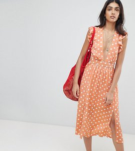 Read more about Glamorous tall sleeveless midi dress with flutter sleeves in polka dot - dusty peach dot