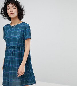 Read more about Reclaimed vintage inspired checked smock dress - blue
