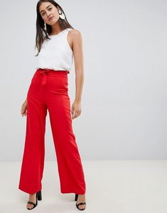 Read more about Miss selfridge wide leg trousers with tie waist in red - red