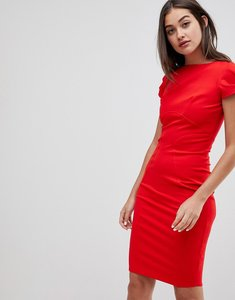 Read more about Closet london pencil dress with ruched cap sleeve in red - red