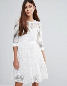 Read more about Zibi london 3 4 sleeve lace midi dress - white