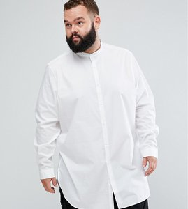 Read more about Asos plus regular fit super longline shirt in white with grandad collar - white