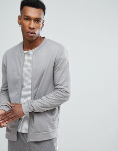 Read more about Asos jersey bomber jacket in grey - silver fox