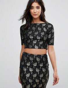 Read more about Ax paris lace metallic leaf crop top - multi