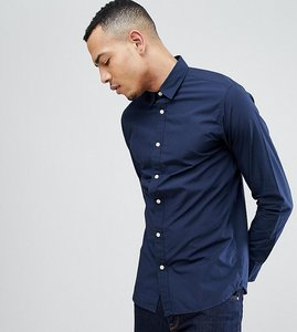 Read more about Selected homme tall slim contrast button shirt - navy blazer