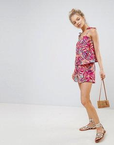 Read more about Influence palm print layered beach playsuit - multi palm
