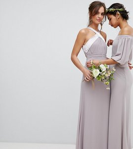 Read more about Tfnc bow back pleated maxi bridesmaid dress - grey