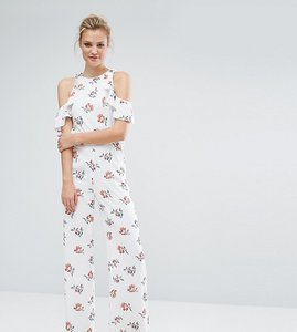 Read more about Fashion union tall floral printed cold shoulder ruffle jumpsuit - multi