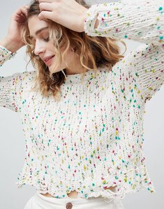 Read more about Asos design chunky jumper in pom pom yarn - multi