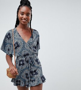 Read more about Influence tall scarf print frill shorts playsuit - navy