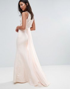 Read more about Little mistress sheer maxi dress with jewel neckline - light pink