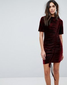 Read more about Prettylittlething ruched detail velvet dress - burgundy