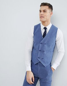 Read more about Asos design wedding skinny suit waistcoat in provence blue cross hatch with printed lining - blue