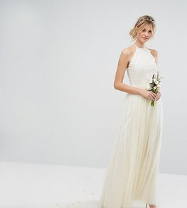 Read more about Maya tall high neck maxi tulle dress with tonal delicate sequins - ecru