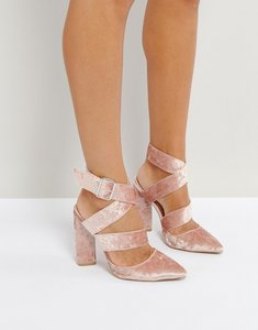Read more about Qupid strappy point crushed velvet high heels - pale pink crushed