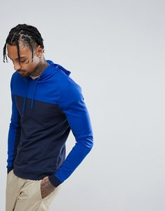 Read more about Asos muscle hoodie in poly tricot with colour block - navy saphire