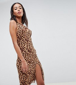 Read more about Missguided tall one shoulder split hem midi dress - leopard