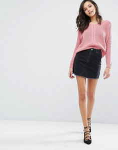 Read more about Miss selfridge mini denim skirt - black