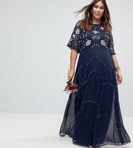 Read more about Asos curve wedding embellished floral flutter sleeve maxi dress - navy