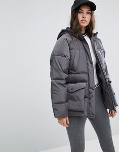 Read more about Asos puffer jacket with pocket detail - grey