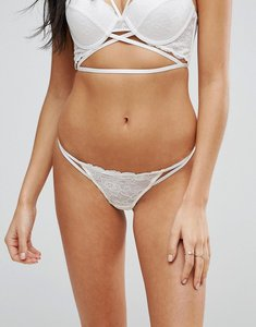 Read more about Asos becca strappy lace thong - white