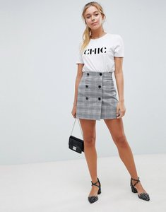 Read more about Asos design double breasted mini skirt in check - multi