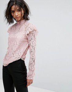Read more about Vila high neck all over long sleeve lace shell top - pale mauve