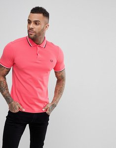 Read more about Fred perry slim fit twin tipped polo shirt in coral - 489