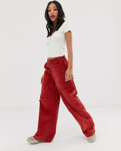 Read more about Noisy may wide leg high waisted cord trousers in rust