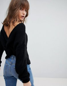 Read more about Asos jumper with twist back - black