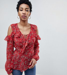 Read more about New look tall frill ruffle sleeve top - red pattern