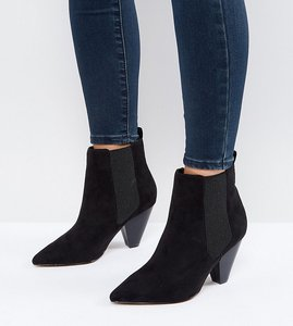 Read more about Asos believe wide fit heeled ankle boots - black