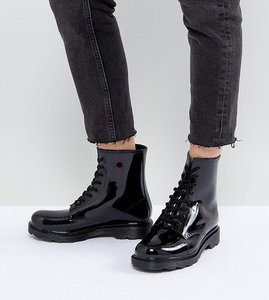 Read more about Asos global wide fit lace up wellies - black