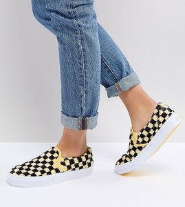 Read more about Vans fluffy yellow checkerboard slip on trainers - yellow