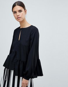 Read more about French connection lisette asymmetric flare blouse - black