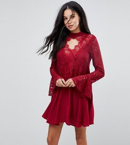 Read more about Kiss the sky tall lace insert smock dress with choker detail - wine
