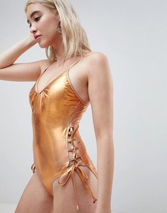 Read more about Pieces metallic swimsuit with laced sides - silver copper