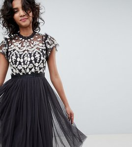 Read more about Needle thread embroidered bodice tulle midi dress in graphite - graphite ivory