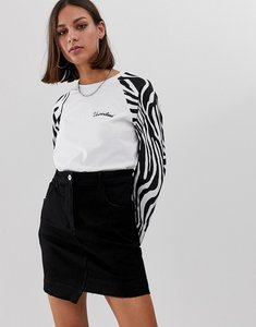 Read more about Uncivilised long sleeved ringer t-shirt with zebra print sleeves
