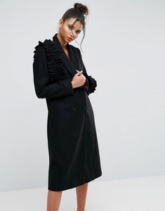 Read more about Asos coat with statement frills - black