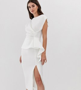 Read more about Asos design tall peplum pencil midi dress with tuck detail