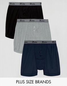 Read more about Duke plus three pack boxer shorts in black navy grey - black grey navy