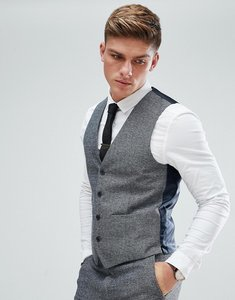 Read more about French connection semi plain donegal slim fit waistcoat - grey