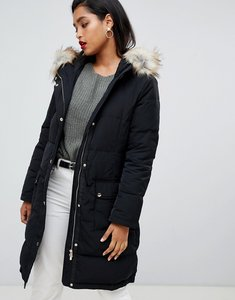 Read more about Vila down padded jacket with faux fur - black