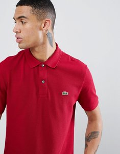 Read more about Lacoste slim fit pique polo in burgundy - 476